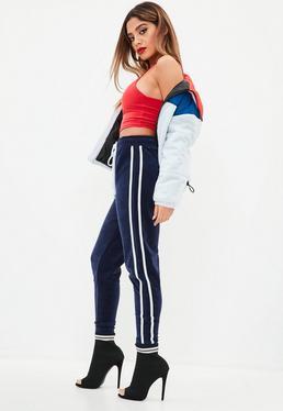 Granatowe welurowe spodnie joggersy
