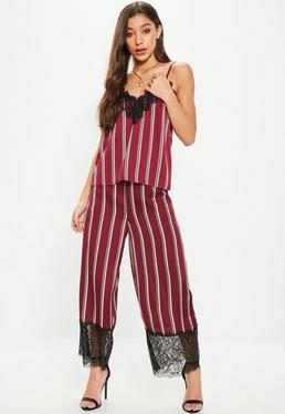 Burgundy Lace Hem Stripe Wide Leg Culotte Pants