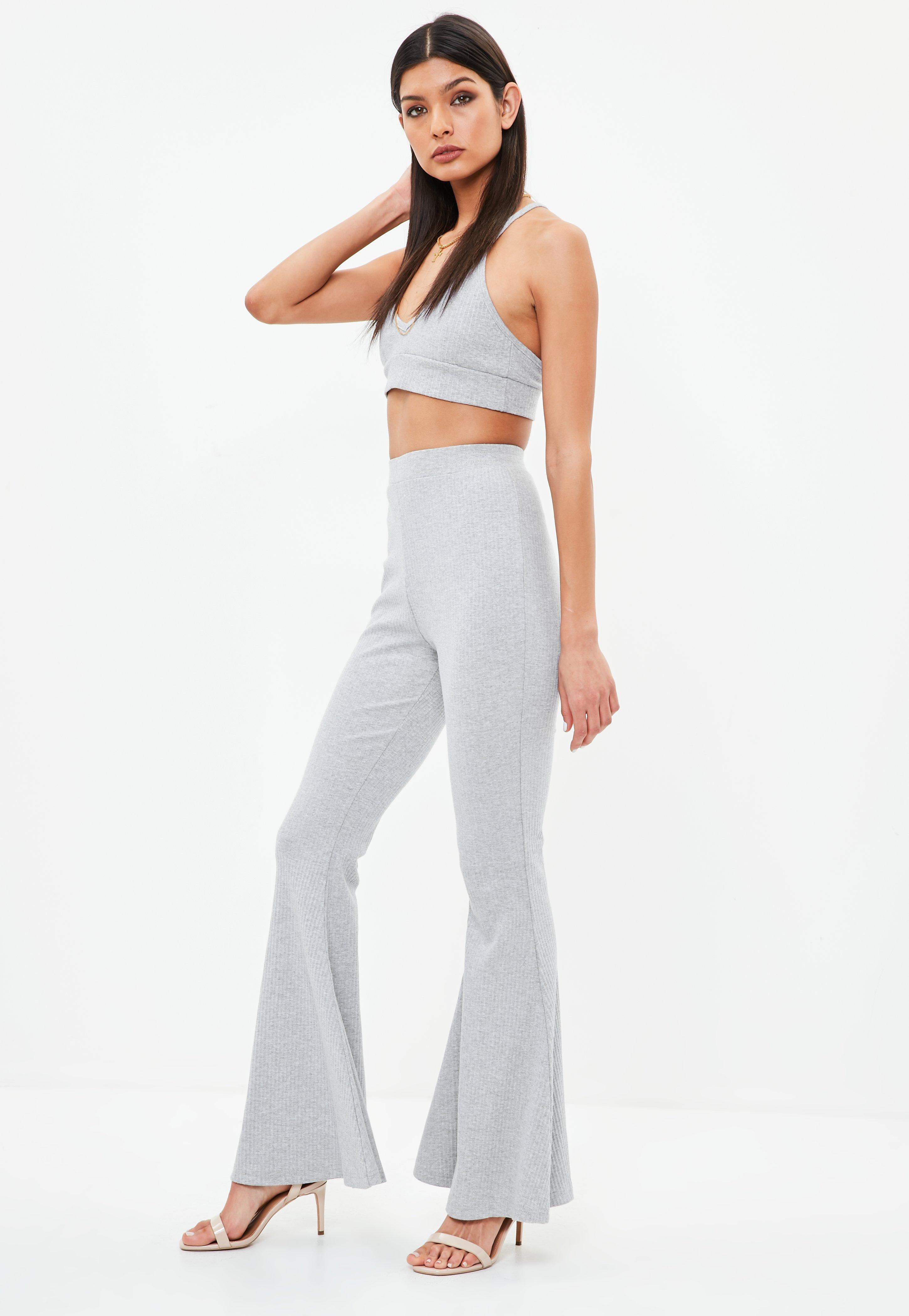 Clearance Online Cheap Real Missguided Ribbed Kick Flare Trousers With Mastercard Cheap Price 2018 New GaLXDLo4