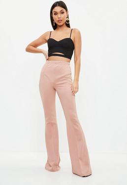 Pink High Waist Kick Flare Trousers