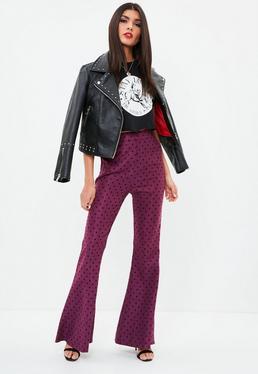 Purple Polka Dot Kick Flare Trousers