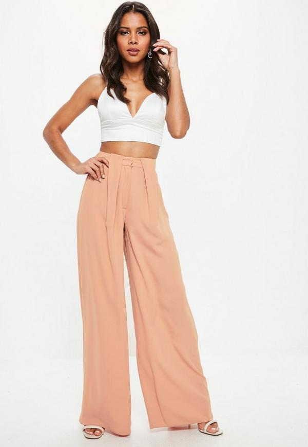 Nude Pleat Tuck Wide Leg Trousers by Missguided