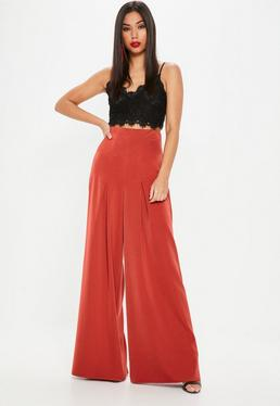 Red Pleated Wide Leg Pants