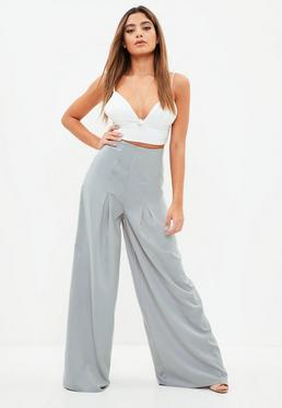 Grey Pleated Wide Leg Trousers