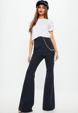 Navy Pinstripe Flared Trousers