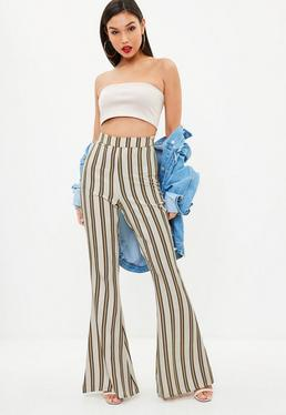 Camel Stripe Wide Leg Pants