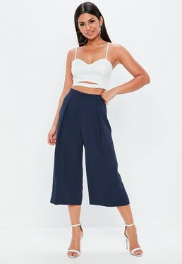 Navy Pleated longline Culotte Trousers