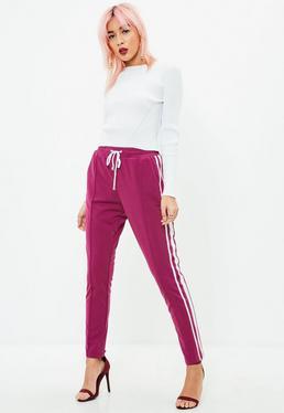 Purple Double Side Stripe Joggers