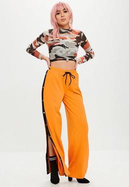 Orange Popper Wide Leg Joggers