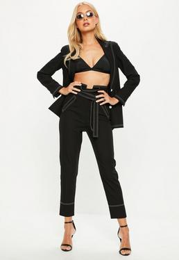 Black Contrast Stitch Detail Belted Suit Pants