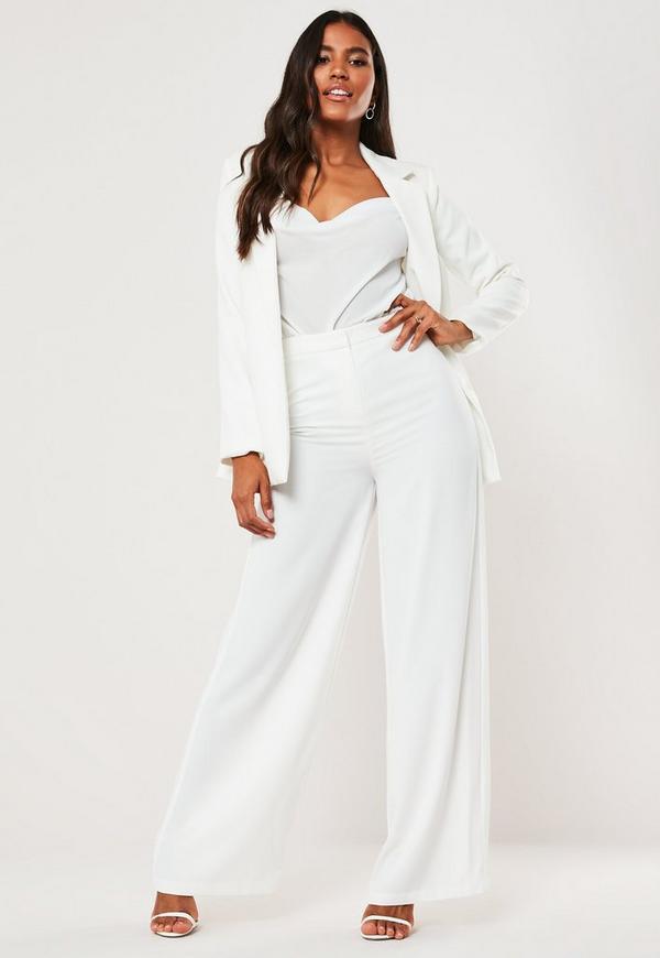 pantalon large blanc missguided. Black Bedroom Furniture Sets. Home Design Ideas