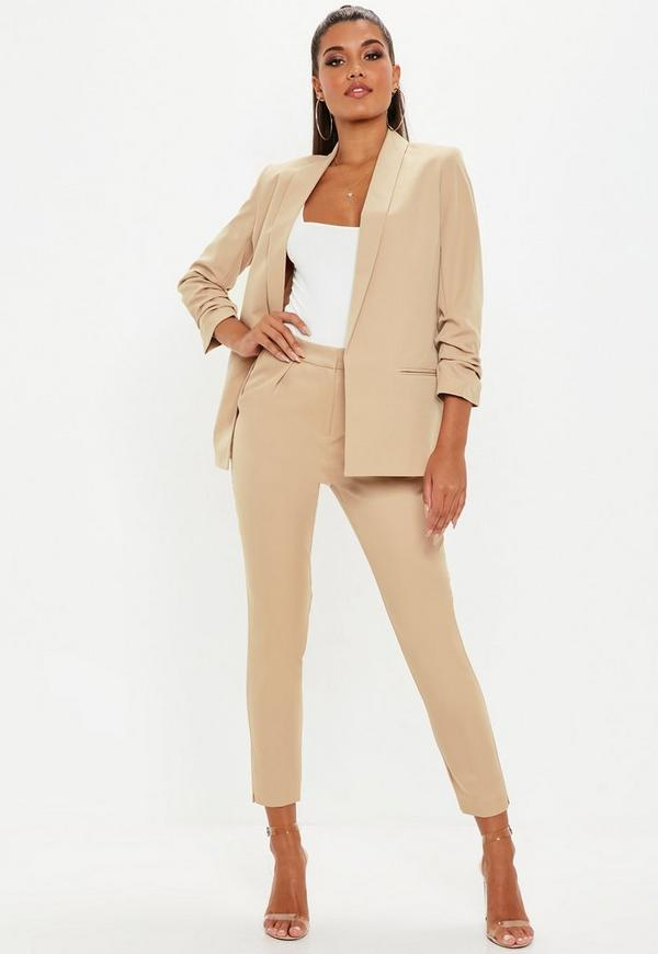 Nude Pleated Cigarette Trousers by Missguided
