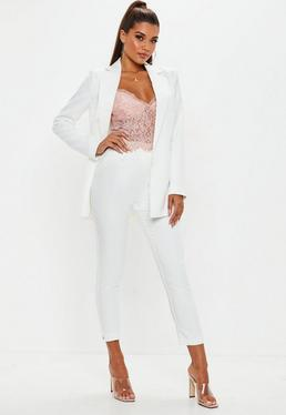 White Pleated Front Cigarette Pants
