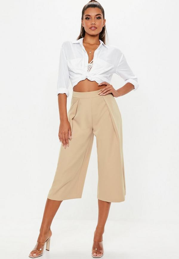 Nude Pleat Front Culotte Pants by Missguided