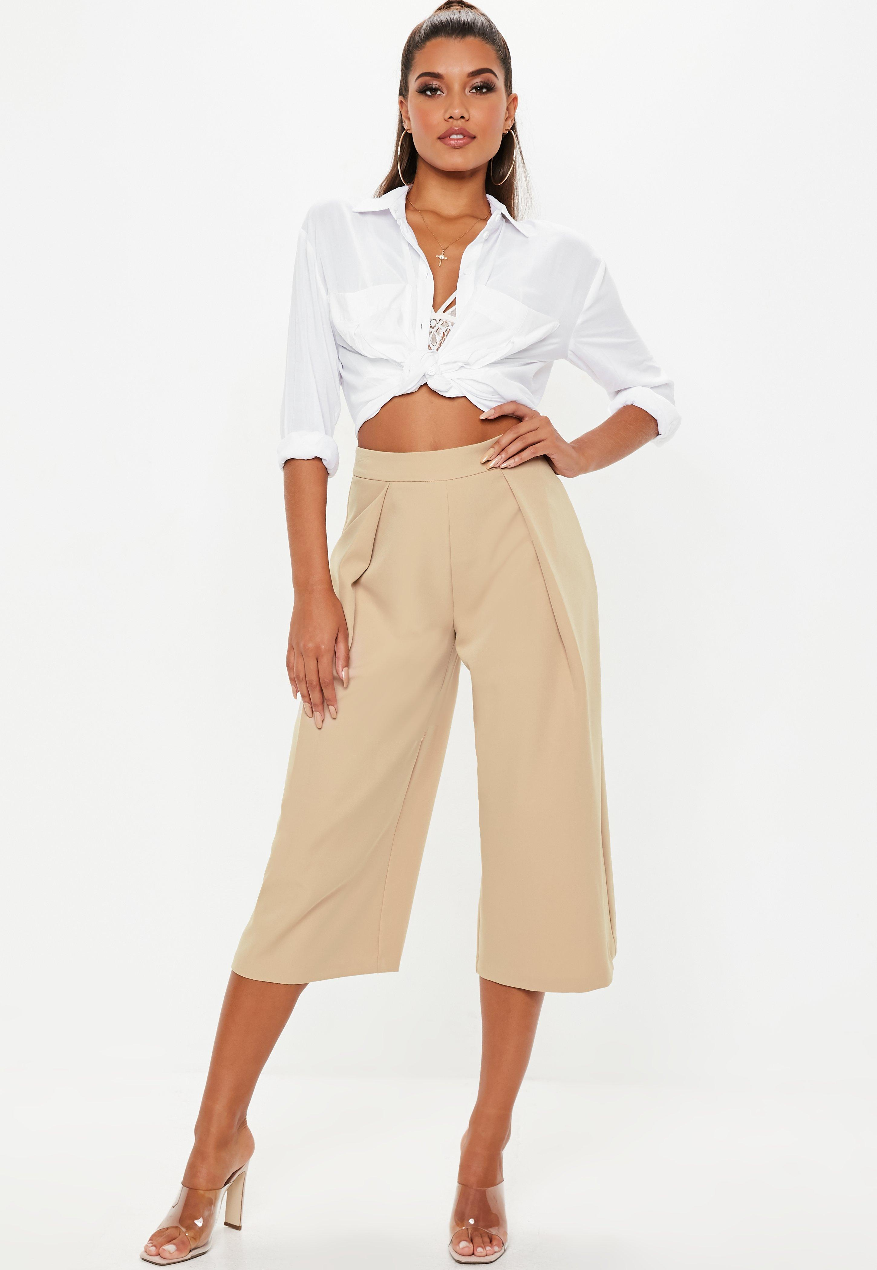 428ef78e54 Nude Pleat Front Culotte Trousers