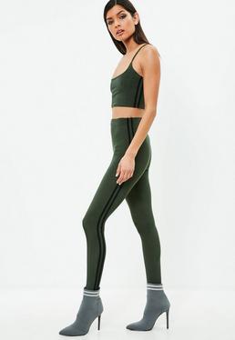 Carli Bybel x Missguided Khaki Stripe Slinky leggings