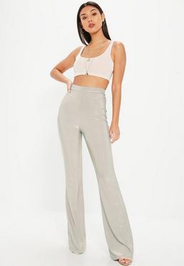 Gray Disco Slinky Flared Pants