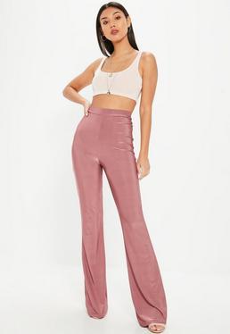 Pink Disco Slinky Flared Pants