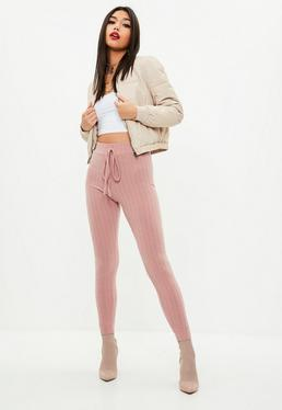 Pink Soft Ribbed Skinny Joggers