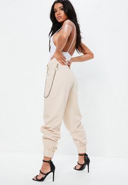 Fanny Lyckman x Missguided Beżowe spodnie Combat z łańcuchem
