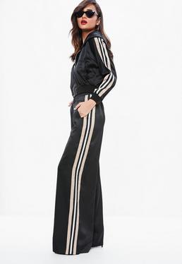 Black Satin Side Stripe Wide Leg Trousers