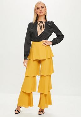 Mustard Tierd Ruffle Pants