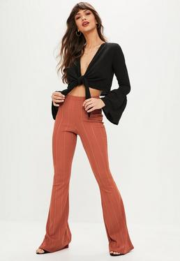 Black Bandage Flare Trousers
