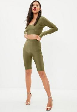 Khaki Disco Slinky Cycling Shorts