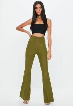 Khaki Disco Slinky Flared Pants