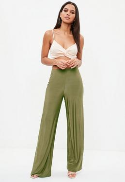 Khaki Disco Slinky Wide Leg Pants