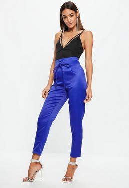 Blue Satin Tie Waist Cigarette Trousers