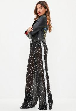 Black Sheer Mixed Floral Wide Leg Trousers