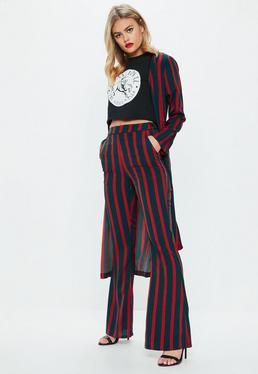 Green Stripe Wide Leg Pants