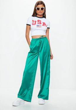 Green Satin Wide Leg Tie Waist Pants