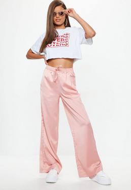 Pink Satin Wide Leg Tie Waist Trousers