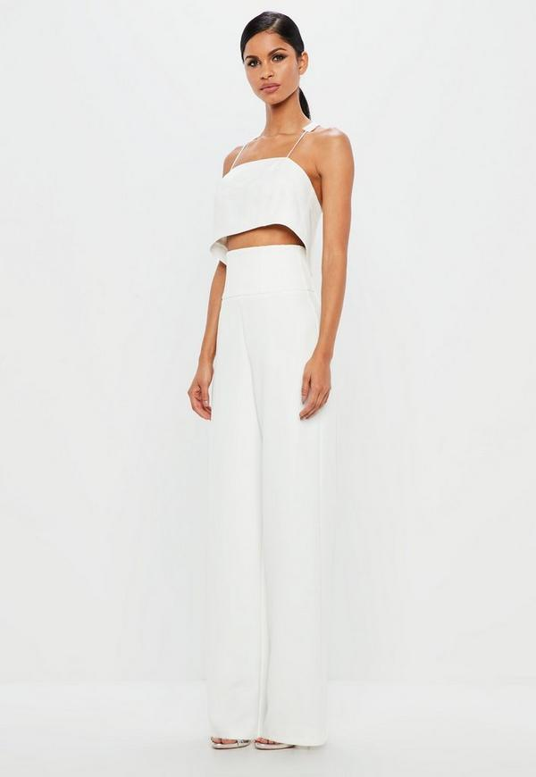 Peace + Love White High Waisted Seam Detail Trousers by Missguided