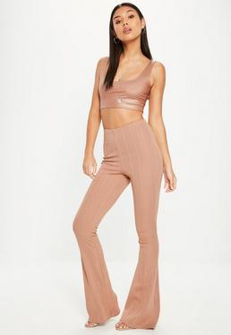 Camel High Waist Bandage Flared Trousers
