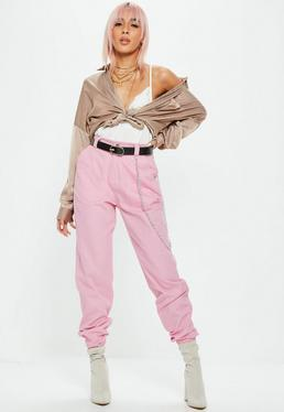 Pink Chain Detail Cargo Trousers