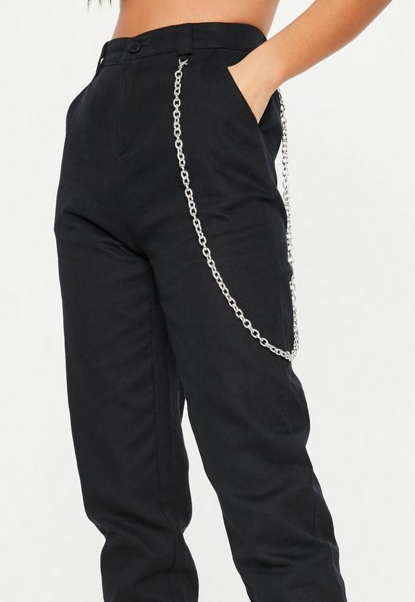Black Chain Detail Cargo Trousers
