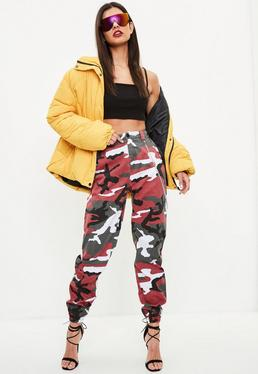 Red Chain Detail Camo Trousers