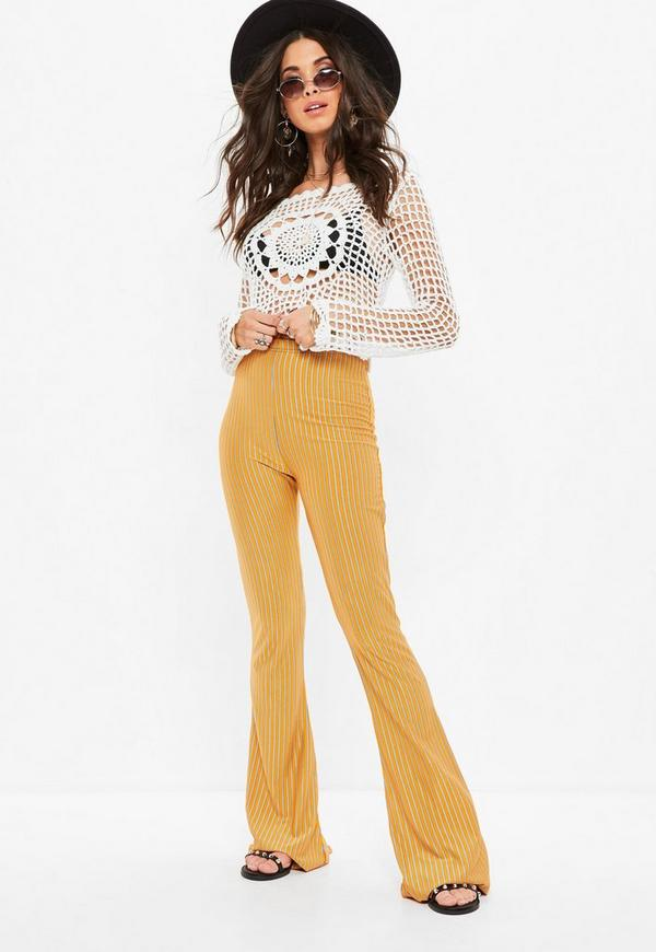 Mustard Stripe Ribbed Kick Flare Trousers by Missguided