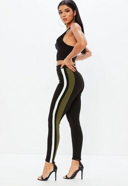 Black Crepe Double Contrast Stripe Trousers