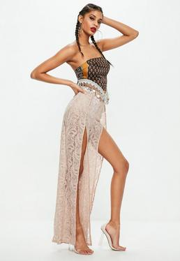 Sand Stretch Lace Flared Trousers
