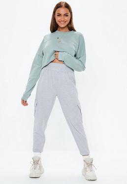 Premium Szare spodnie dresowe cargo