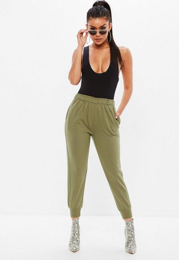Khaki Twisted Seam Joggers by Missguided