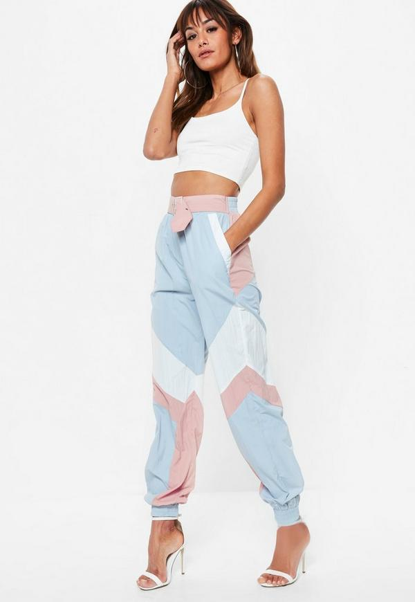 pink shell suit belted pants missguided