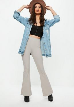 Grey Skinny Rib Kick Flare Trousers