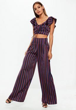 Burgundowe spodnie z szerokimi nogawkami