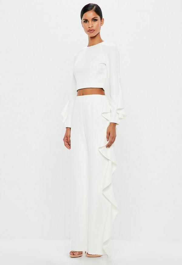Peace + Love White Ruffle Wide Leg Trousers by Missguided