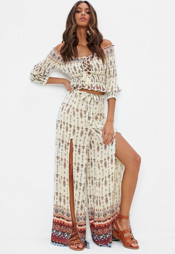 0f1802ca3c6 ... Nude Paisley Wide Leg Trousers. Previous Next